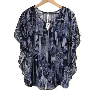 NWT NY Collection printed blouse Size 1X